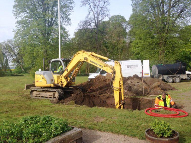 Udgravning til kloak af PA Underboring
